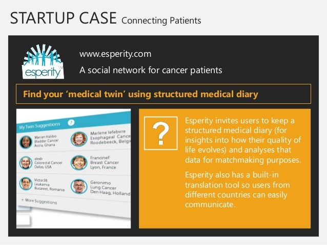 STARTUP CASE Connecting Patients  www.esperity.com  A social network for cancer patients  Esperity invites users to keep a...