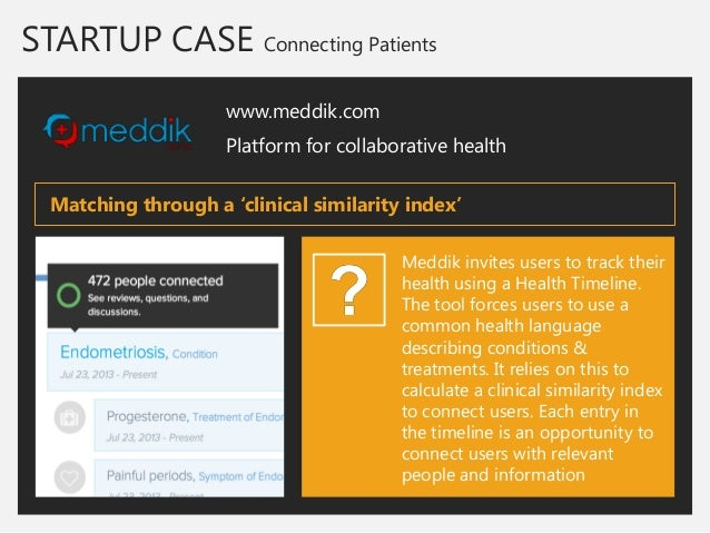 STARTUP CASE Connecting Patients  www.meddik.com  Platform for collaborative health  Meddik invites users to track their h...