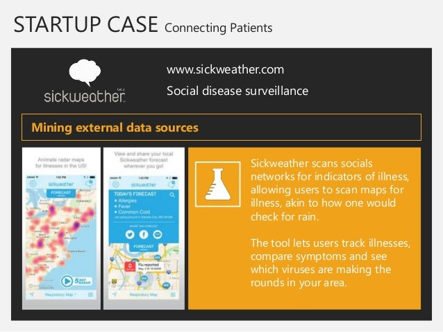 STARTUP CASE Connecting Patients  www.sickweather.com  Social disease surveillance  Sickweather scans socials networks for...