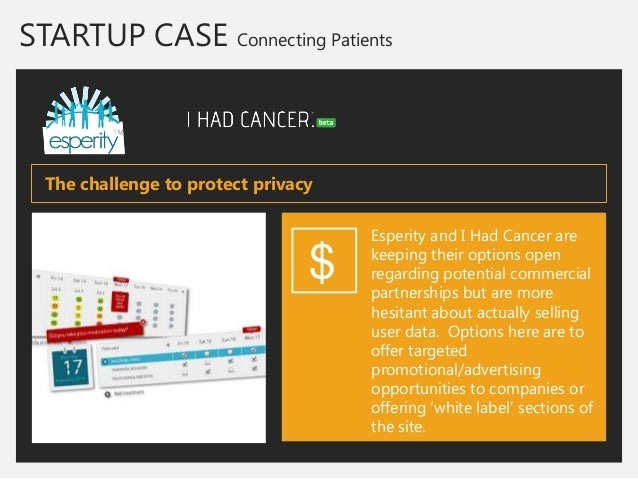 STARTUP CASE Connecting Patients  Esperity and I Had Cancer are keeping their options open regarding potential commercial ...