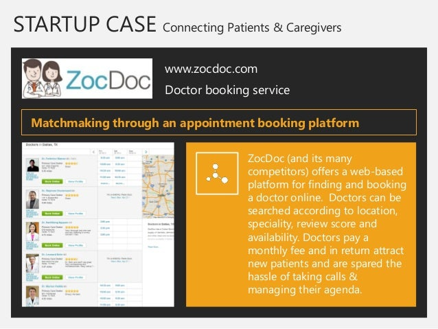 STARTUP CASE Connecting Patients & Caregivers  www.zocdoc.com  Doctor booking service  ZocDoc (and its many competitors) o...