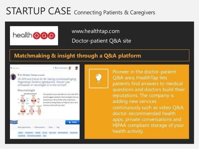 STARTUP CASE Connecting Patients & Caregivers  www.healthtap.com  Doctor-patient Q&A site  Pioneer in the doctor-patient Q...