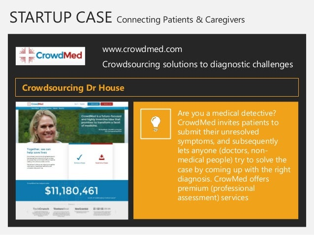 STARTUP CASE Connecting Patients & Caregivers  www.crowdmed.com  Crowdsourcing solutions to diagnostic challenges  Are you...