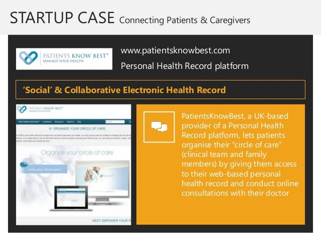 STARTUP CASE Connecting Patients & Caregivers  www.patientsknowbest.com  Personal Health Record platform  PatientsKnowBest...