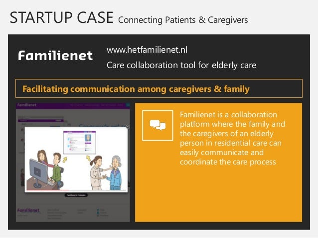 STARTUP CASE Connecting Patients & Caregivers  www.hetfamilienet.nl  Care collaboration tool for elderly care  Familienet ...