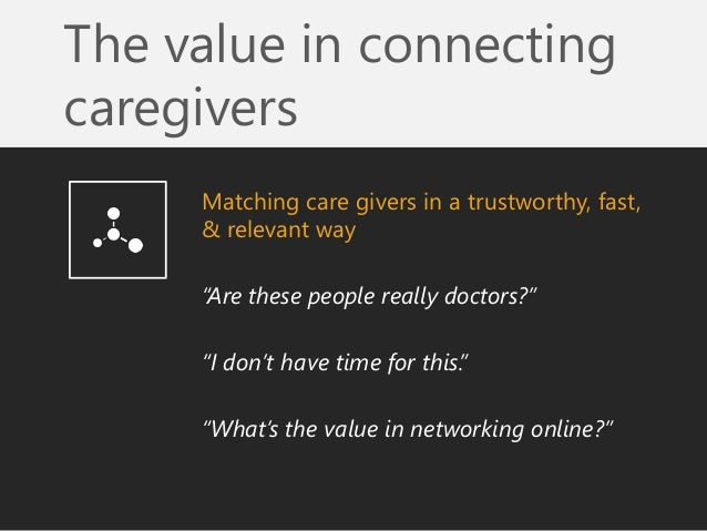 """The value in connecting caregivers  Matching care givers in a trustworthy, fast, & relevant way  """"Are these people really ..."""