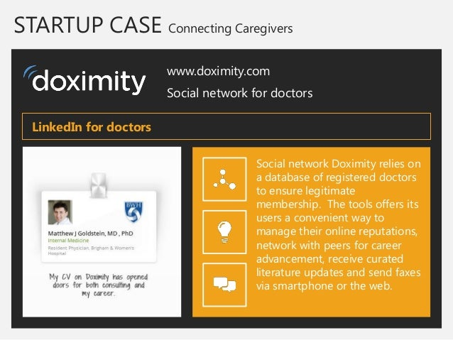 STARTUP CASE Connecting Caregivers  www.doximity.com  Social network for doctors  Social network Doximity relies on a data...