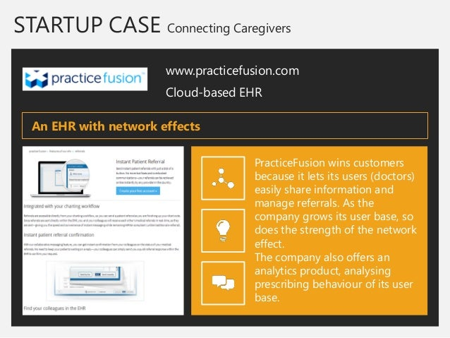 STARTUP CASE Connecting Caregivers  www.practicefusion.com  Cloud-based EHR  PracticeFusion wins customers because it lets...