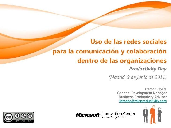 Uso de las redes socialespara la comunicación y colaboración        dentro de las organizaciones                          ...