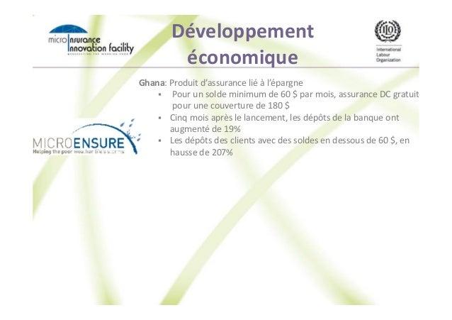 Développement économique Ghana: Produit d'assurance lié à l'épargne Pour un solde minimum de 60 $ par mois, assurance DC g...