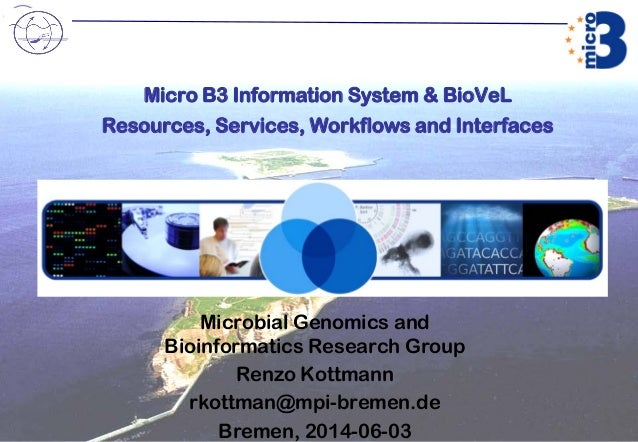 Micro B3 Information System & BioVeL Resources, Services, Workflows and Interfaces Microbial Genomics and Bioinformatics R...