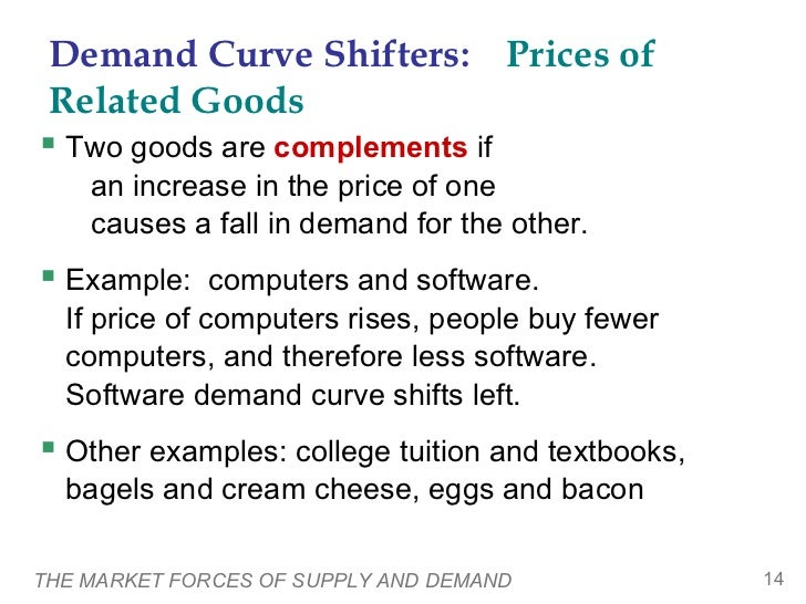 Demand Curve Shifters: Prices of Related Goods Two goods are complements if    an increase in the price of one    causes ...