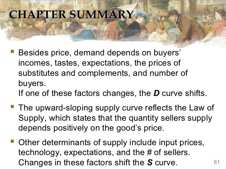 CHAPTER SUMMARY Besides price, demand depends on buyers'  incomes, tastes, expectations, the prices of  substitutes and c...