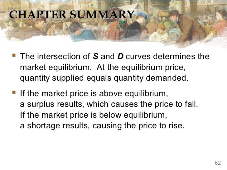CHAPTER SUMMARY The intersection of S and D curves determines the  market equilibrium. At the equilibrium price,  quantit...