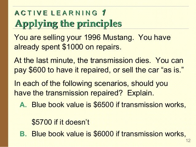 ACTIVE LEARNING  1  Applying the principles You are selling your 1996 Mustang. You have already spent $1000 on repairs. At...