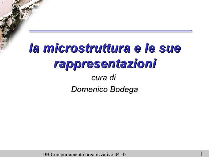 la microstruttura e le sue rappresentazioni cura di  Domenico Bodega