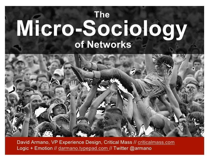 The  Micro-Sociology                          of Networks     David Armano, VP Experience Design, Critical Mass // critica...