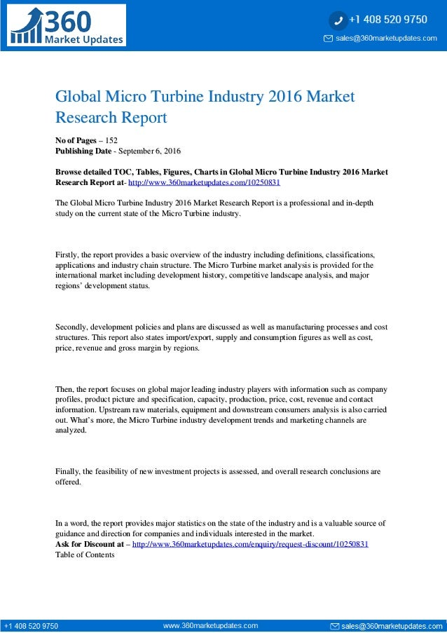 Global Micro Turbine Industry 2016 MarketGlobal Micro Turbine Industry 2016 Market Research ReportResearch Report No of Pa...