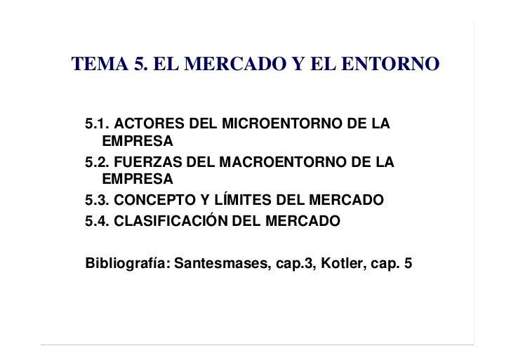TEMA 5. EL MERCADO Y EL ENTORNO   5.1. ACTORES DEL MICROENTORNO DE LA     EMPRESA  5.2. FUERZAS DEL MACROENTORNO DE LA    ...