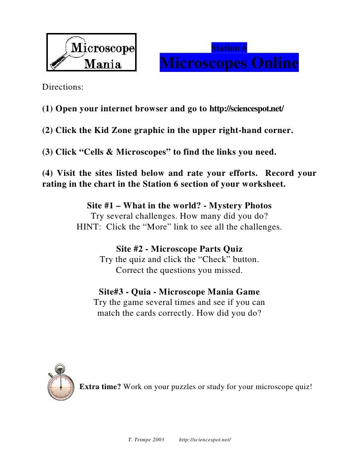 Micro All Stations Cards – Microscope Mania Worksheet