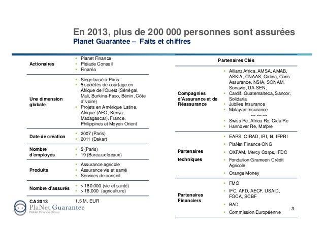 En 2013, plus de 200 000 personnes sont assurées Planet Guarantee – Faits et chiffres 3 Actionaires Planet Finance Pléiade...