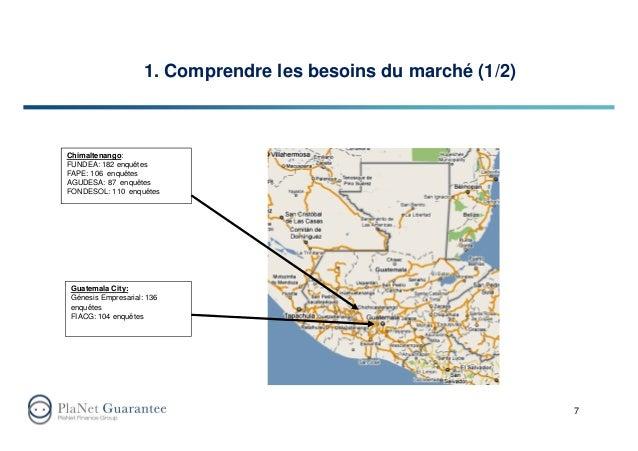 1. Comprendre les besoins du marché (1/2) 7 Chimaltenango: FUNDEA: 182 enquêtes FAPE: 106 enquêtes AGUDESA: 87 enquêtes FO...