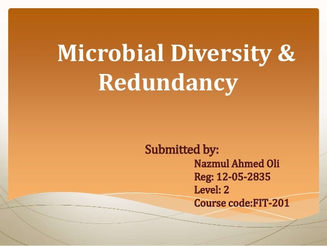Microbial Diversity & Redundancy Submitted by: Nazmul Ahmed Oli Reg: 12-05-2835 Level: 2 Course code:FIT-201