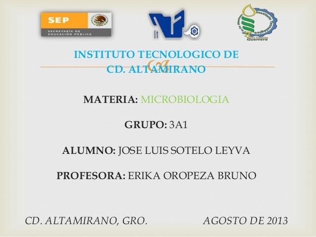  INSTITUTO TECNOLOGICO DE CD. ALTAMIRANO MATERIA: MICROBIOLOGIA GRUPO: 3A1 ALUMNO: JOSE LUIS SOTELO LEYVA PROFESORA: ERIK...