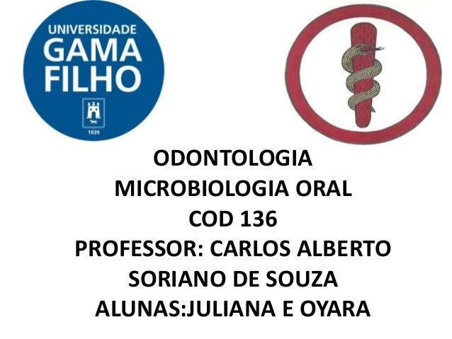 ODONTOLOGIA MICROBIOLOGIA ORAL COD 136 PROFESSOR: CARLOS ALBERTO SORIANO DE SOUZA ALUNAS:JULIANA E OYARA