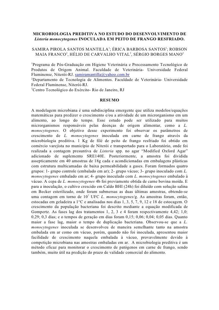 MICROBIOLOGIA PREDITIVA NO ESTUDO DO DESENVOLVIMENTO DE     Listeria monocytogenes INOCULADA EM PEITO DE FRANGO RESFRIADO....