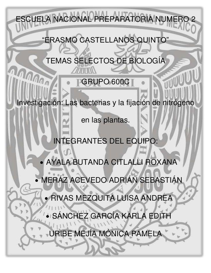 """ESCUELA NACIONAL PREPARATORIA NUMERO 2       """"ERASMO CASTELLANOS QUINTO""""        TEMAS SELECTOS DE BIOLOGÍA                ..."""