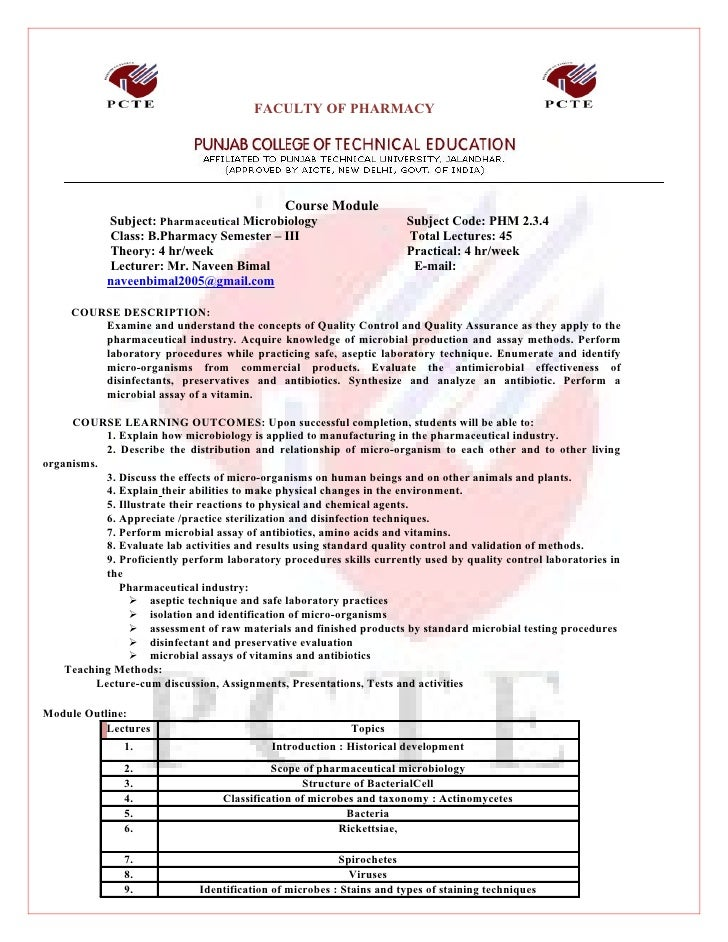 FACULTY OF PHARMACY                                                    Course Module             Subject: Pharmaceutical M...