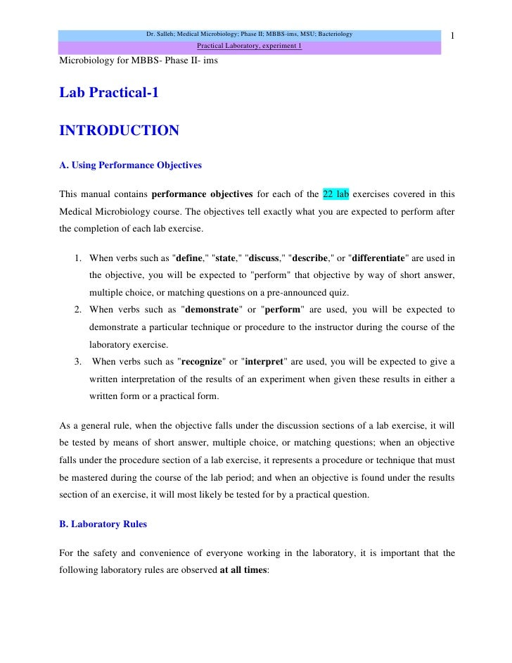 Examples of lab reports for microbiology