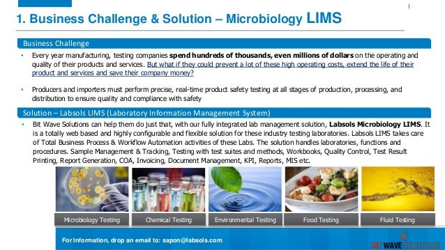 1. Business Challenge & Solution – Microbiology LIMS Microbiology Testing Business Challenge • Every year manufacturing, t...