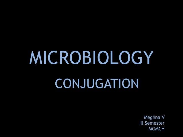 MICROBIOLOGY CONJUGATION Meghna V III Semester MGMCH