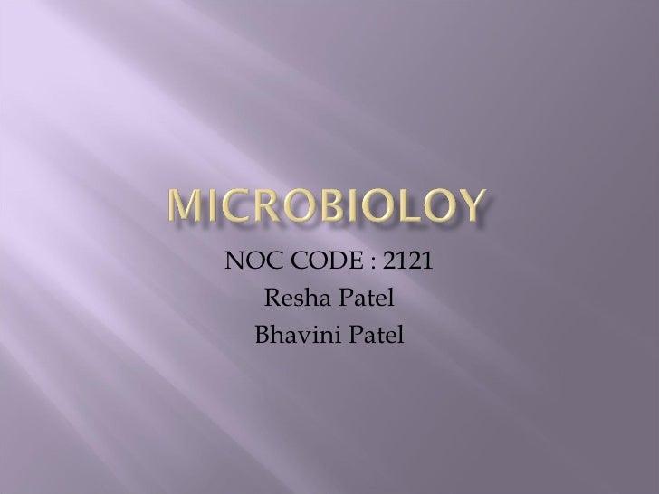 NOC CODE : 2121  Resha Patel Bhavini Patel