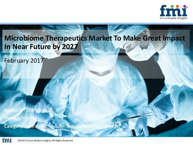 Microbiome Therapeutics Market To Make Great Impact In Near Future by 2027 February 2017 ©2015 Future Market Insights, All...
