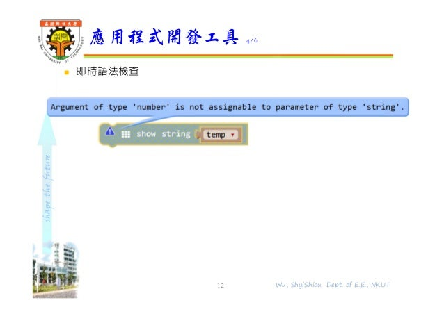 shapethefuture  即時語法檢查 應用程式開發工具 4/6 12 Wu, ShyiShiou Dept. of E.E., NKUT