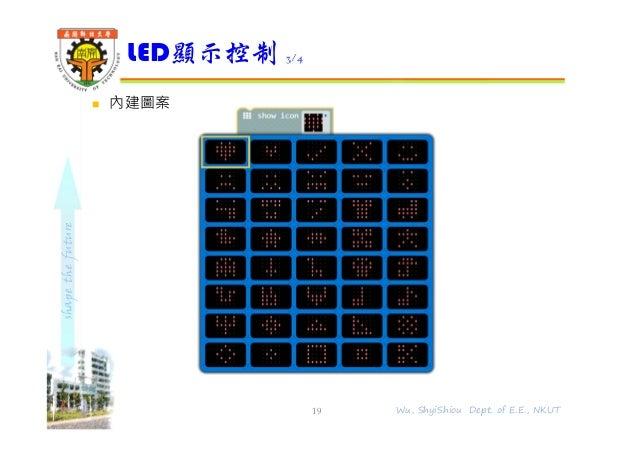 shapethefuture  內建圖案 LED顯示控制 3/4 19 Wu, ShyiShiou Dept. of E.E., NKUT