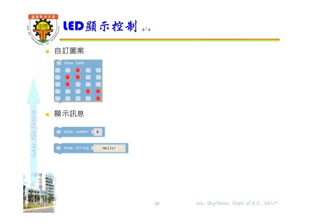 shapethefuture  自訂圖案  顯示訊息 LED顯示控制 4/4 20 Wu, ShyiShiou Dept. of E.E., NKUT