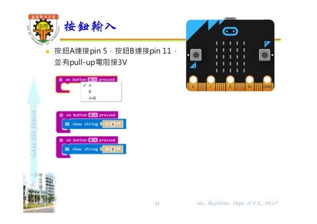 shapethefuture  按鈕A連接pin 5,按鈕B連接pin 11, 並有pull-up電阻接3V 按鈕輸入 21 Wu, ShyiShiou Dept. of E.E., NKUT