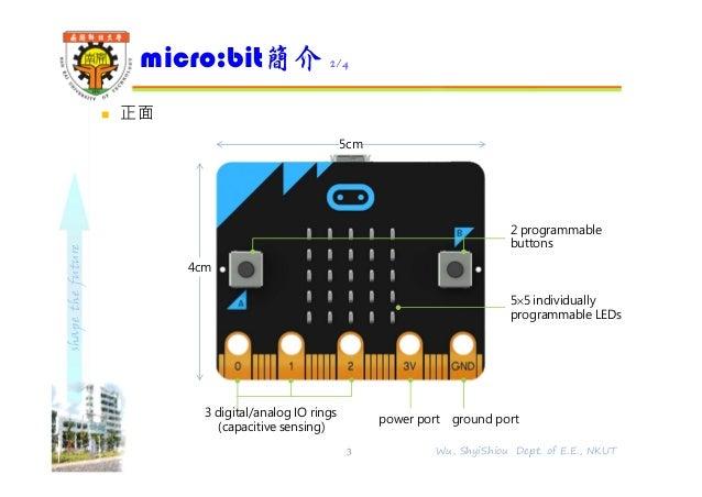 shapethefuture  正面 micro:bit簡介 2/4 3 Wu, ShyiShiou Dept. of E.E., NKUT 4cm 5cm 3 digital/analog IO rings (capacitive sens...