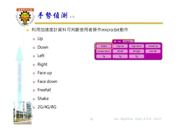 shapethefuture  利用加速度計資料可判斷使用者操作micro:bit動作  Up  Down  Left  Right  Face up  Face down  Freefall  Shake  2G/4G/8...