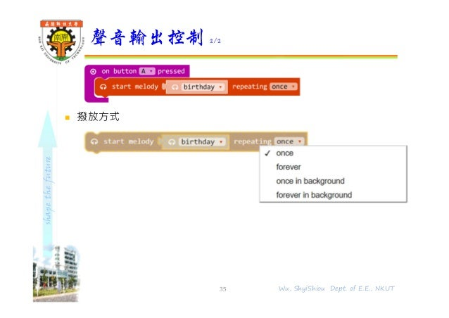 shapethefuture  撥放方式 聲音輸出控制 2/2 35 Wu, ShyiShiou Dept. of E.E., NKUT