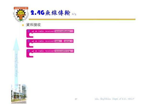 shapethefuture  資料接收 2.4G無線傳輸 2/3 37 Wu, ShyiShiou Dept. of E.E., NKUT