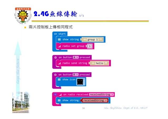 shapethefuture  兩片控制板上傳相同程式 2.4G無線傳輸 3/3 38 Wu, ShyiShiou Dept. of E.E., NKUT