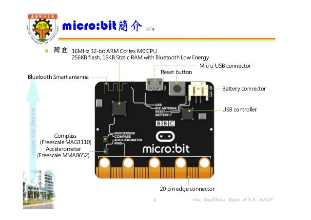 shapethefuture  背面 micro:bit簡介 3/4 4 Wu, ShyiShiou Dept. of E.E., NKUT 16MHz 32-bit ARM Cortex M0 CPU 256KB flash, 16KB S...