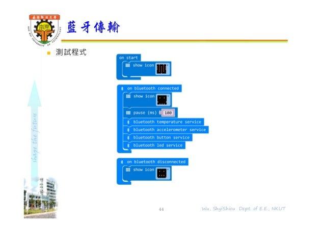 shapethefuture  測試程式 藍牙傳輸 44 Wu, ShyiShiou Dept. of E.E., NKUT