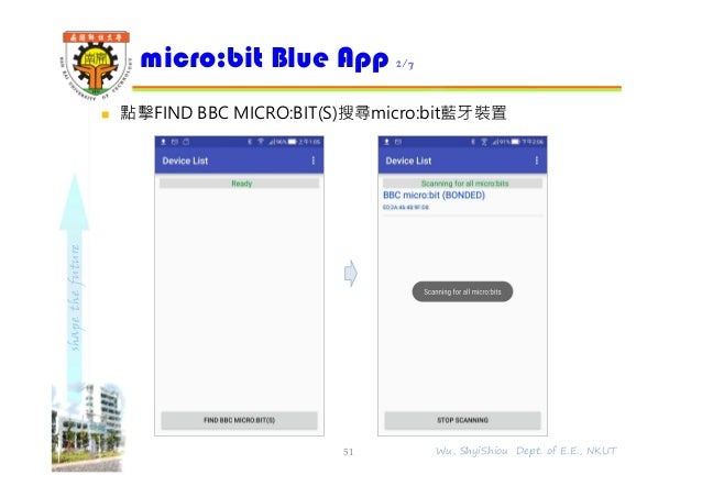 shapethefuture  點擊FIND BBC MICRO:BIT(S)搜尋micro:bit藍牙裝置 micro:bit Blue App 2/7 51 Wu, ShyiShiou Dept. of E.E., NKUT