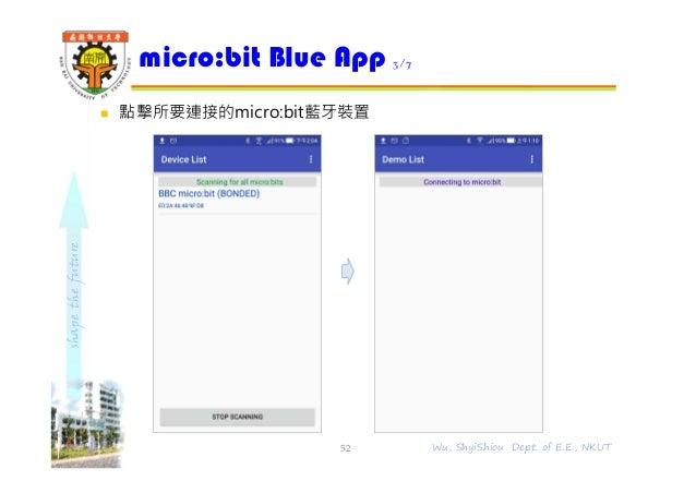 shapethefuture  點擊所要連接的micro:bit藍牙裝置 micro:bit Blue App 3/7 52 Wu, ShyiShiou Dept. of E.E., NKUT